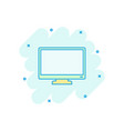 cartoon computer monitor icon in comic style vector image vector image