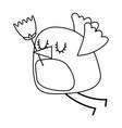 cartoon cute bird with tulip flower in beak vector image