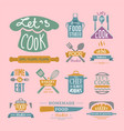 cooking badge motivation text vector image vector image
