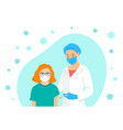 doctor gives a shot covid19 vaccine to patient vector image