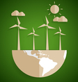 Ecology concept Paper cut of globe and turbine on vector image vector image