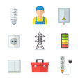 electrician icon set professional service vector image vector image