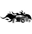 fast car flames black silhouette vector image