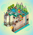 Flat 3d isometric board game with city building vector image vector image
