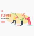 flower arrangement landing page template japanese vector image