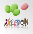 freedom girl with balloon and animals vector image vector image