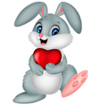 Funny bunny with red heart love vector image vector image
