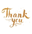 Golden glitter paint hand drawn Thank You vector image