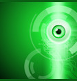 green background with eye and circuit vector image vector image