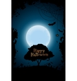 Halloween Background with Graveyard and Tree vector image