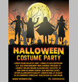 halloween kids costume party in front cemetery vector image vector image