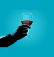 hand holding a wine glass vector image vector image