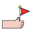 hand with flag party celebration decoration vector image vector image