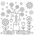hello spring coloring page black and white vector image vector image