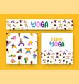 i love yoga pattern banner people cartoon set vector image