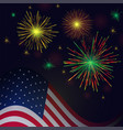 independence day golden reg green fireworks and vector image vector image