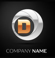 letter d logo symbol in the golden-silver circle vector image