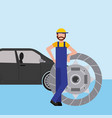 mechanic with clutch plate auto repair service vector image