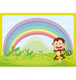 Monkey with a raindow vector image vector image
