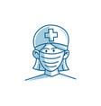nurse man character wearing mask vector image