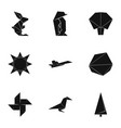 origami figurine icons set simple style vector image vector image