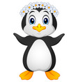 penguin hawaiian cartoon vector image