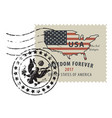 postage stamp with map usa in colors flag vector image vector image