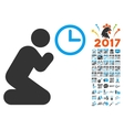 Pray Time Icon With 2017 Year Bonus Pictograms vector image