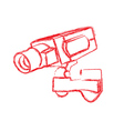 Red and White Surveillance Camera CCTV vector image