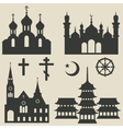 religious buildings set and symbol vector image