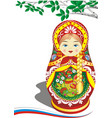 russian nesting doll in the red outfit vector image