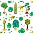 seamless pattern with houseplants indoor vector image