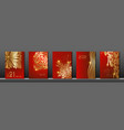 set cards 2021 happy new year gold red texture vector image