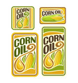 set labels for cooking corn oil vector image vector image