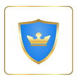 Shield gold icon with crown white vector image vector image