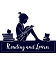 silhouette cute little girl reading book read and vector image