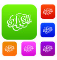 smash comic book bubble text set color collection vector image vector image