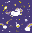 unicorn on night sky seamless pattern vector image vector image