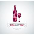 wine bottle poly design background vector image vector image