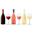 wine set bottles and glasses of different wine vector image vector image