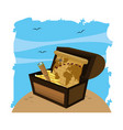 wooden chest box with global map and monocular vector image
