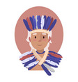 young indian dressed in a beautiful national hat vector image