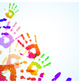 colorful hand prints background vector image