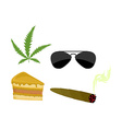 Set of drugs Accessories addict Marijuana and vector image