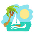 tropical island with palm tree vector image