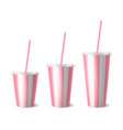 3d realistic white pink striped paper vector image