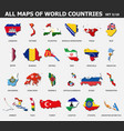 all maps world countries and flags set 3 of vector image
