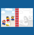 animals cartoon on roller coaster coloring or page vector image