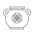 big cauldron with clover sticker image vector image