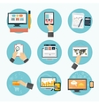 Business office and marketing items icons vector image vector image